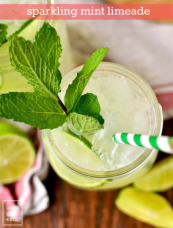 overhead photo of a glass of sparkling mint limeade