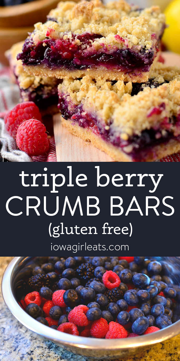Photo collage of triple berry crumb bars