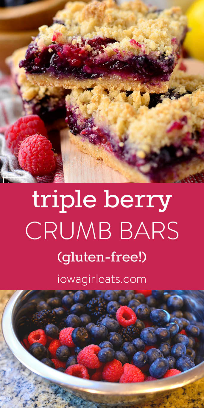 Photo collage of gluten-free Triple Berry Crumb Bars.