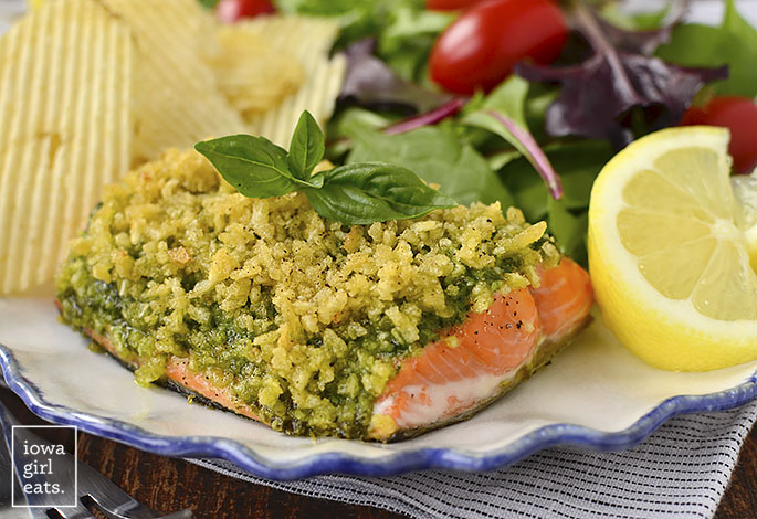 Horizontal image of Crispy Pesto Potato Chip Salmon on a plate.
