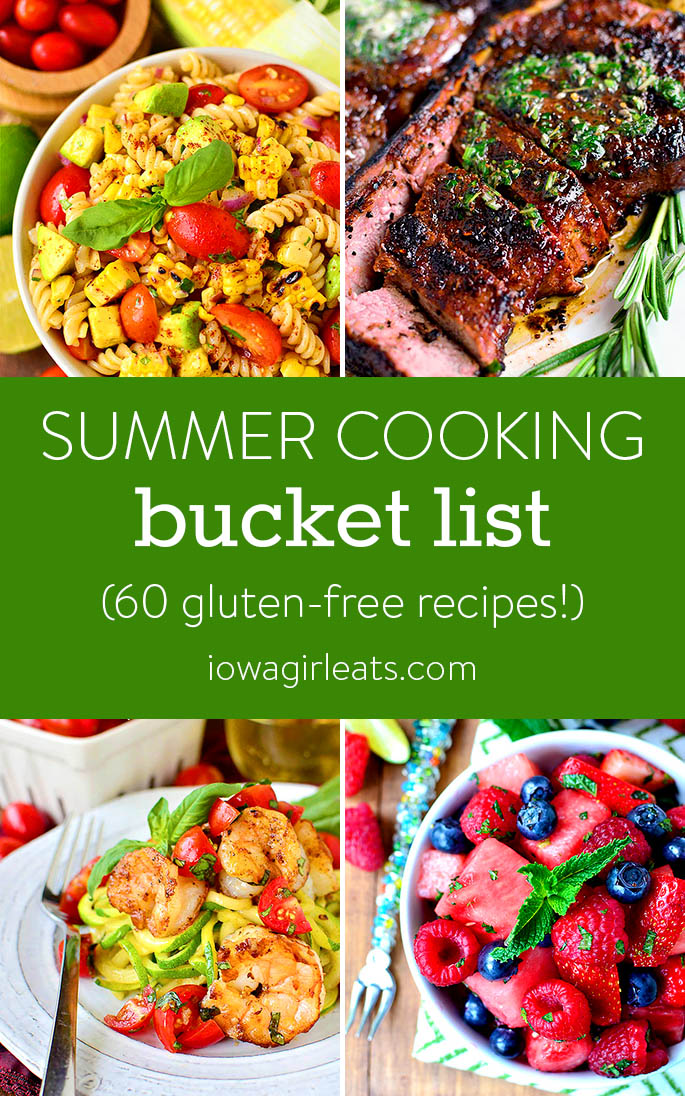 Collage of summer cooking bucket list recipes.