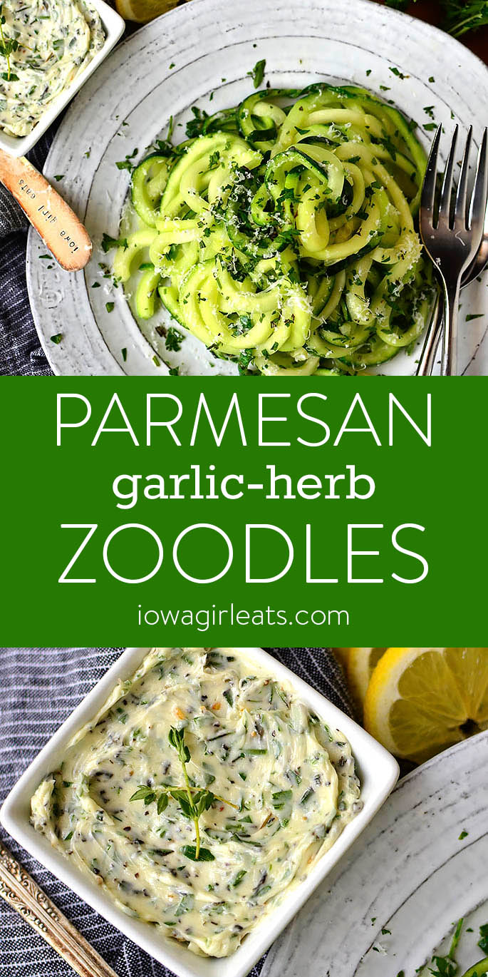 Parmesan Garlic-Herb Zoodles photo collage.