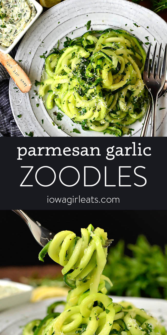 Photo collage of parmesan garlic zoodles