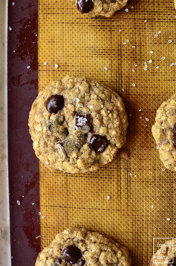 Brown Butter Oatmeal Chocolate Chip Cookies on a baking sheet