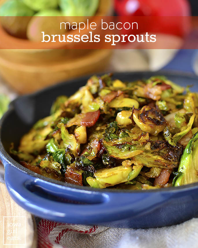 Skillet of Maple Bacon Brussels Sprouts
