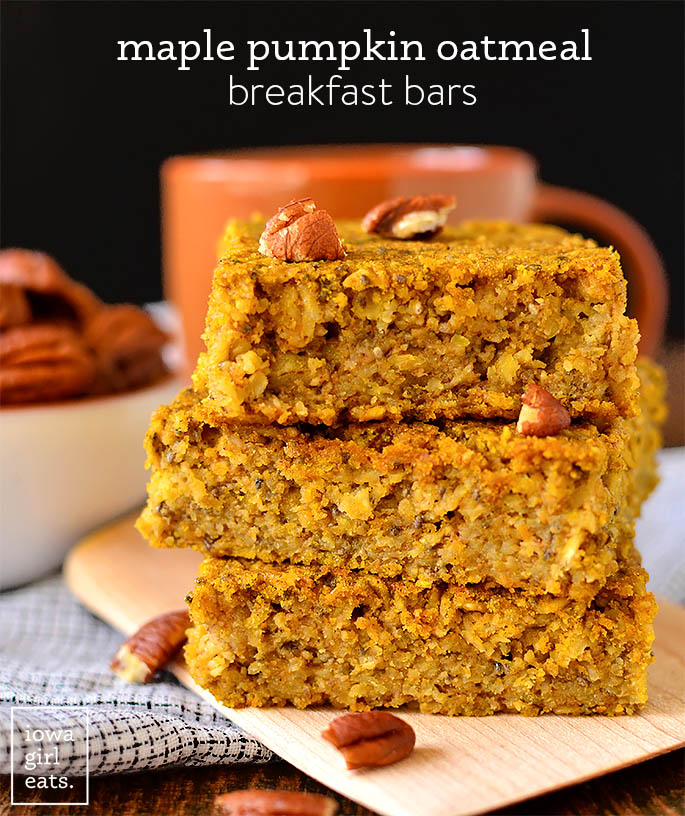 maple pumpkin oatmeal breakfast bars with a cup of coffee