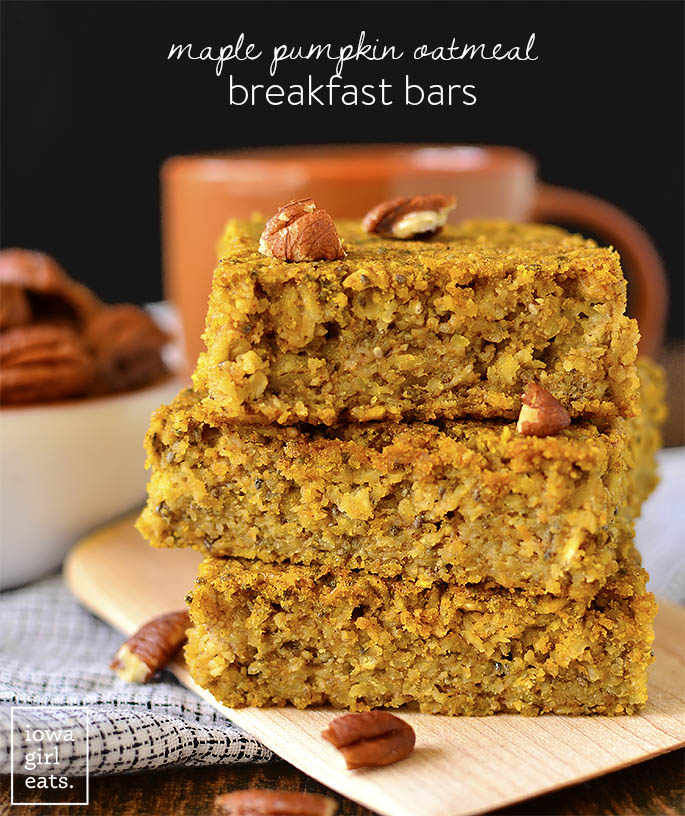 Stack of Maple Pumpkin Oatmeal Breakfast Bars