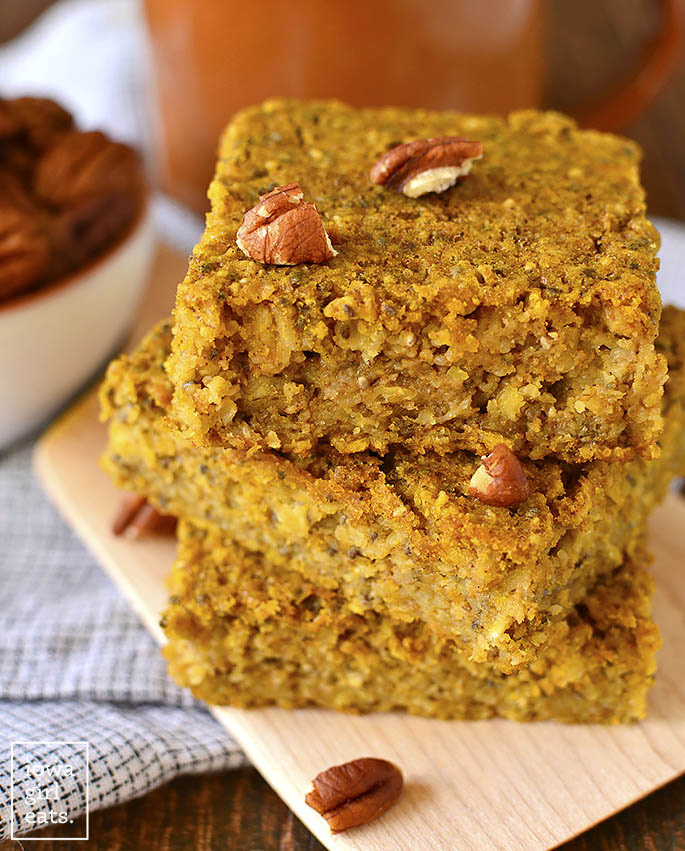 Maple Pumpkin Oatmeal Breakfast Bars from Iowa Girl Eats on foodiecrush.com