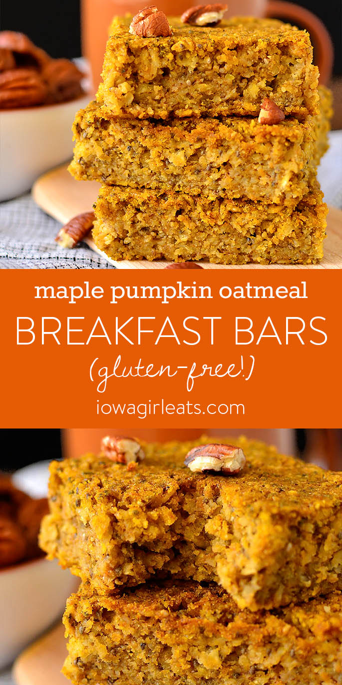 Photo collage of Maple Pumpkin Oatmeal Breakfast Bars