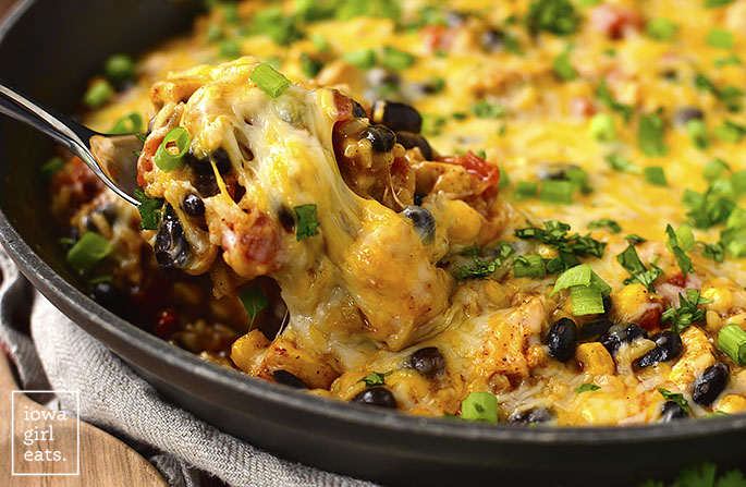 Spoonful of Cheesy Chicken Burrito Skillet
