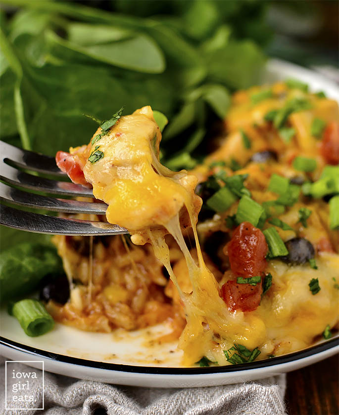 Forkful of Cheesy Chicken Burrito Skillet