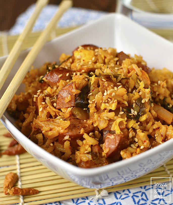 Bowl of Healthier Kimchi Fried Rice with chopsticks