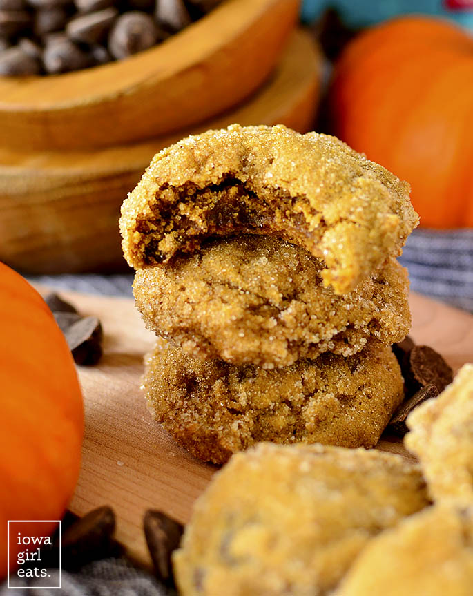 Stack of Soft Batch Pumpkin Gingersnap Chocolate Chip Cookies