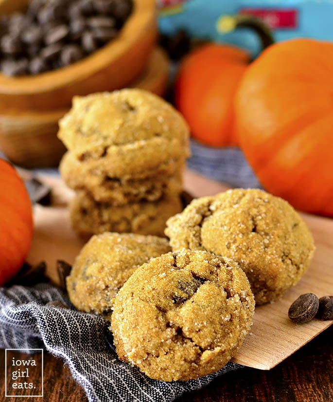 Photo of a plate of Soft Batch Pumpkin Gingersnap Chocolate Chip Cookies