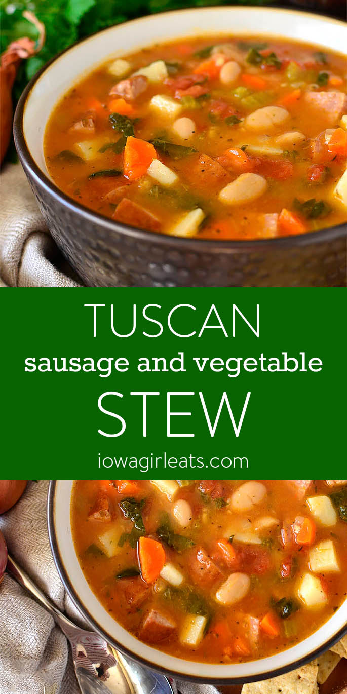 Photo collage of Tuscan Sausage and Vegetable Stew