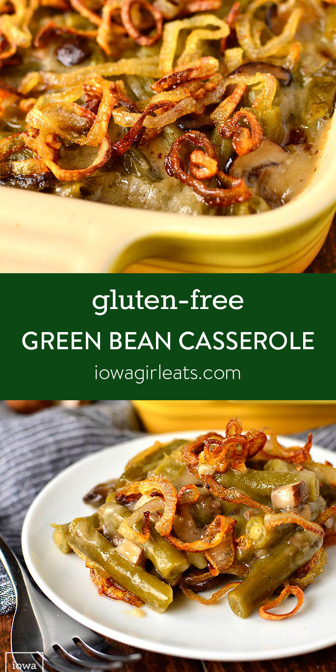 Photo Collage of Gluten-Free Green Bean Casserole with Garlic Butter Mushrooms