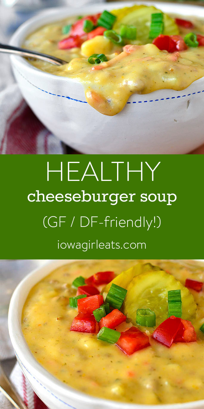 Photo collage of Healthy Cheeseburger Soup
