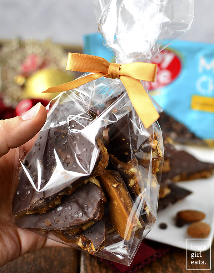 Packaged up Salted Chocolate Almond Toffee for gifting