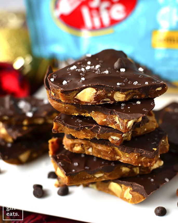 A stack of pieces of Salted Chocolate Almond Toffee