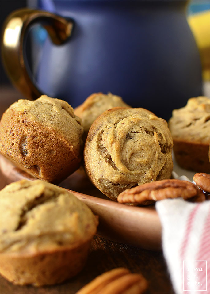 Close up photo of Gluten-Free Banana-Nut Mini Muffins