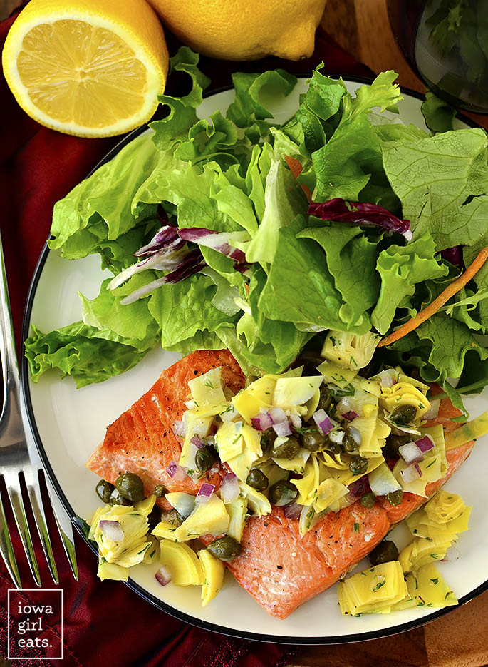 Overhead photo of Pan-Seared Salmon with Lemon-Artichoke Salsa