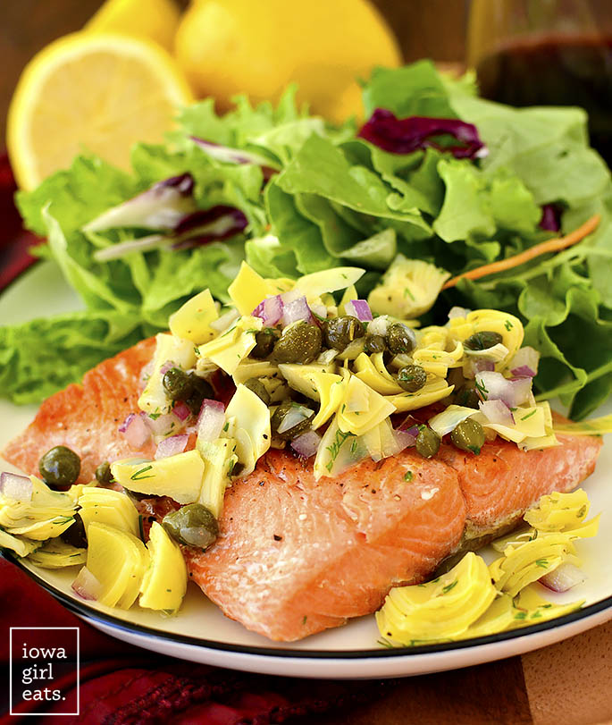 pretty photo of Pan-Seared Salmon with Lemon-Artichoke Salsa