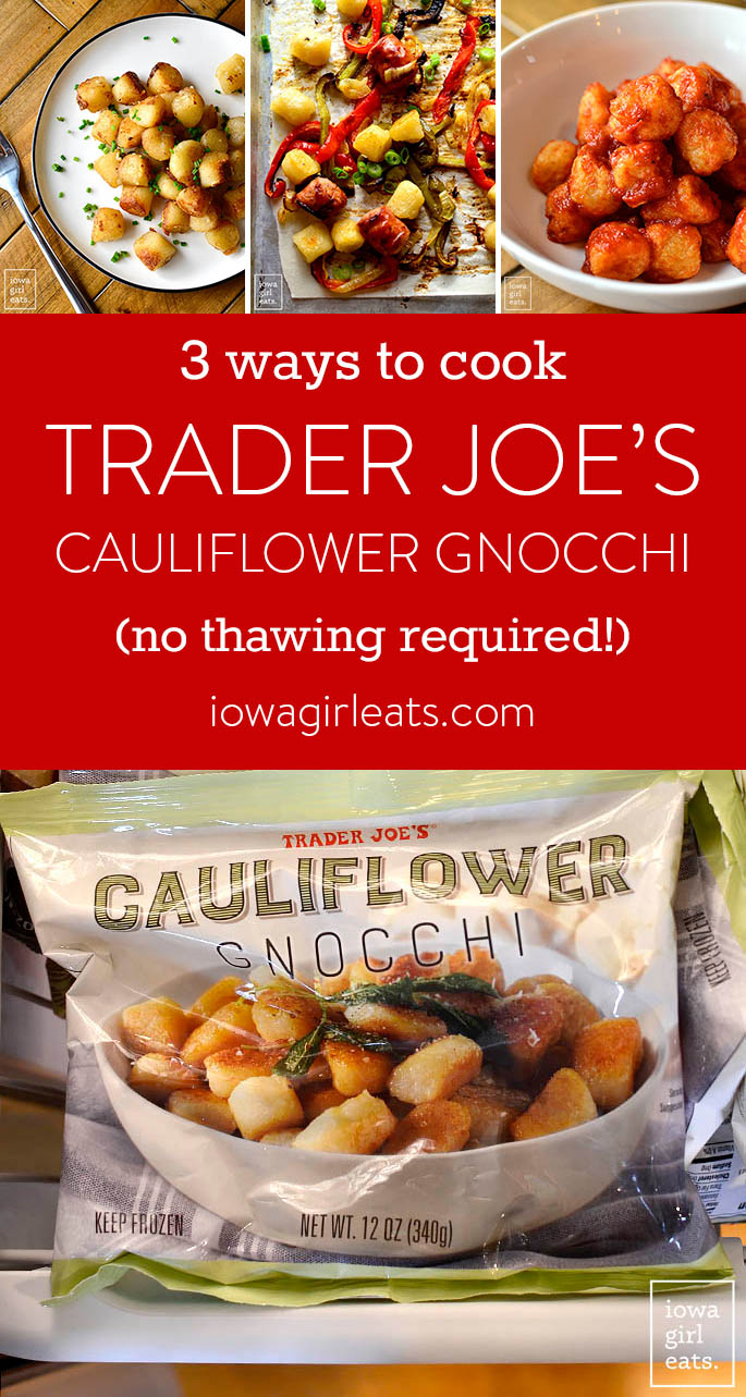 Photo collage of how to cook Trader Joe's Frozen Cauliflower Gnocchi