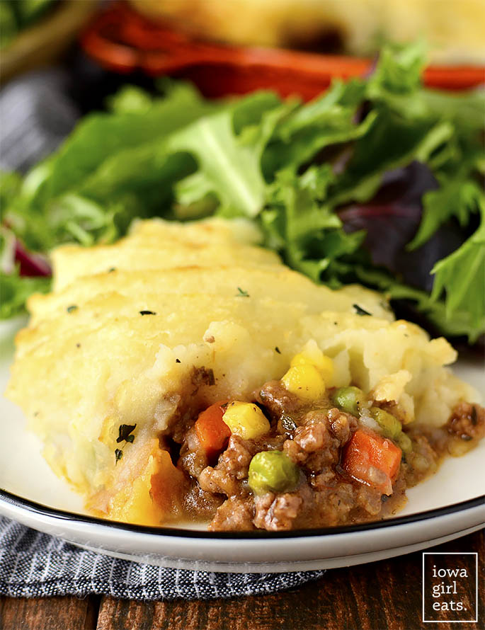 Scoop of Skillet Shepherd's Pie on a plate.
