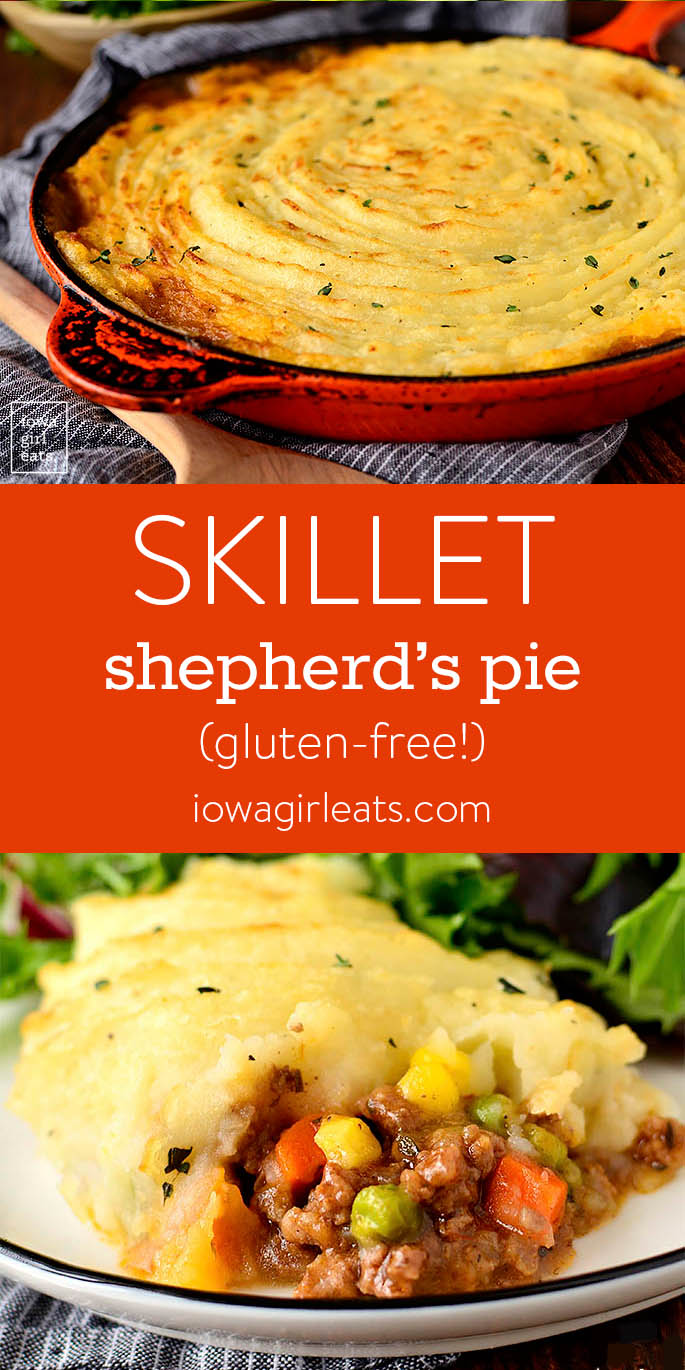 Photo collage of Skillet Shepherd's Pie.
