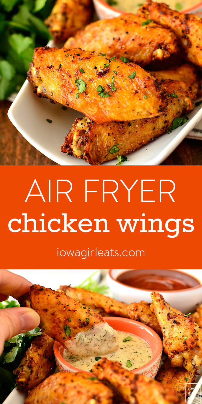 Photo collage of Air Fryer Chicken Wings