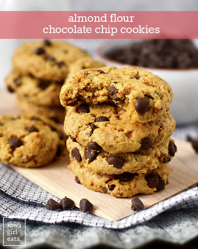 Stack of Almond Flour Chocolate Chip Cookies