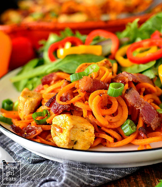 sweet potato noodles with chicken and bacon