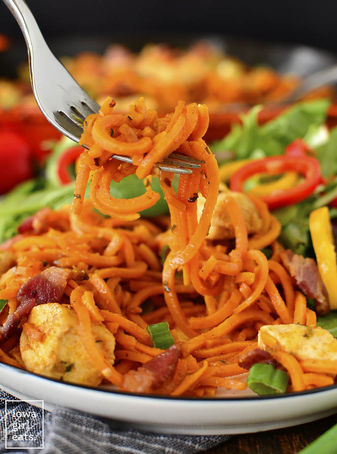 Forkful of Buffalo Chicken, Bacon and Sweet Potato Noodle Skillet