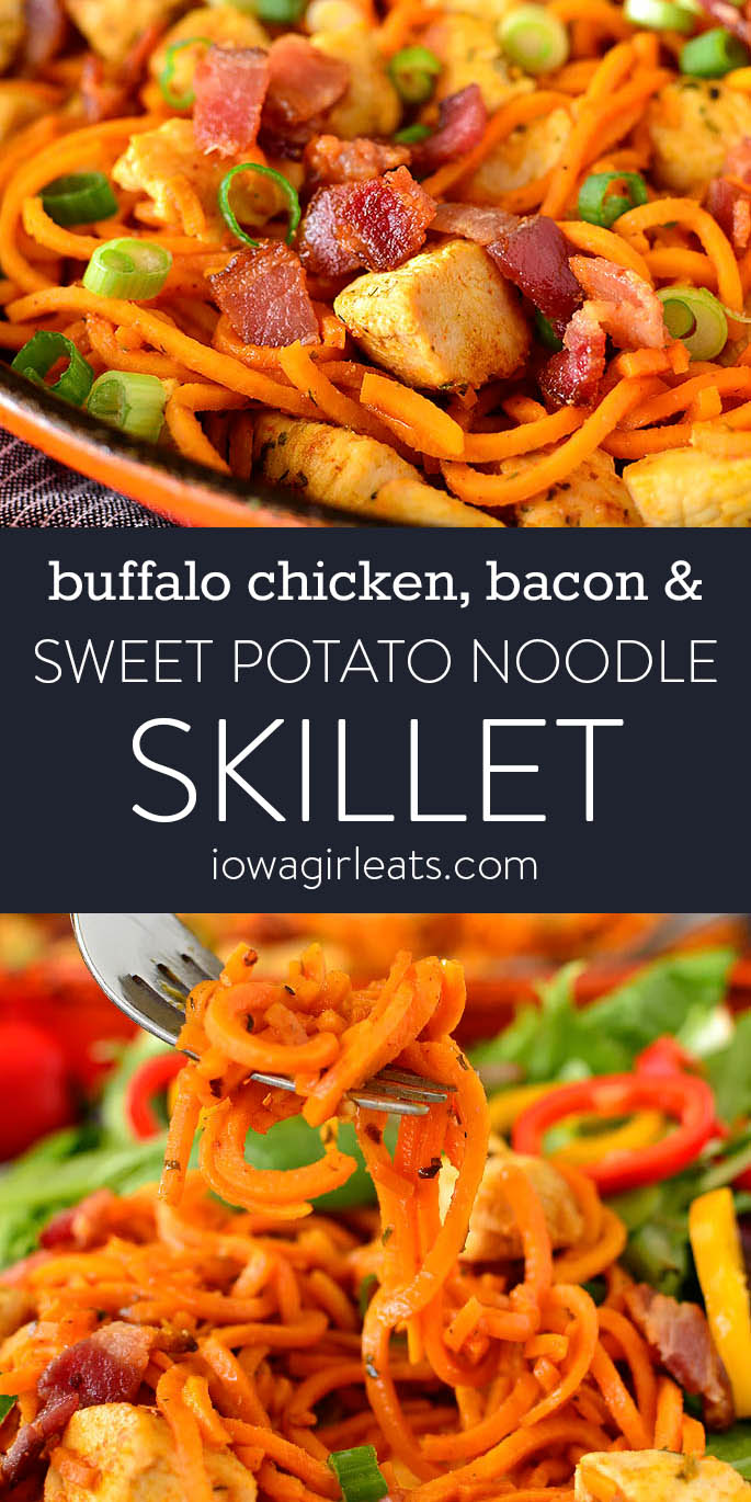 Photo collage of buffalo chicken, bacon, and sweet potato noodle skillet