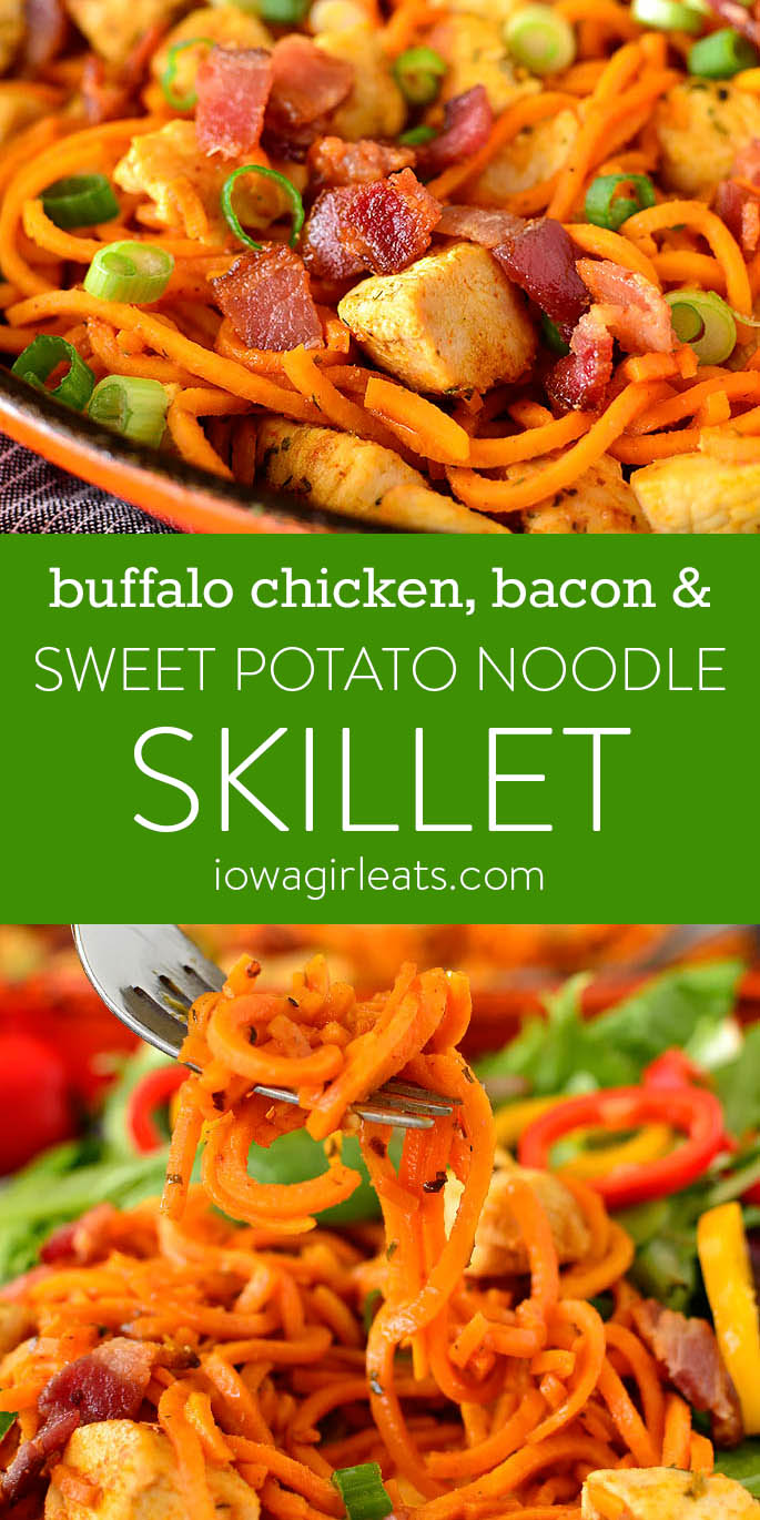 Photo collage of Buffalo Chicken, Bacon and Sweet Potato Noodle Skillet