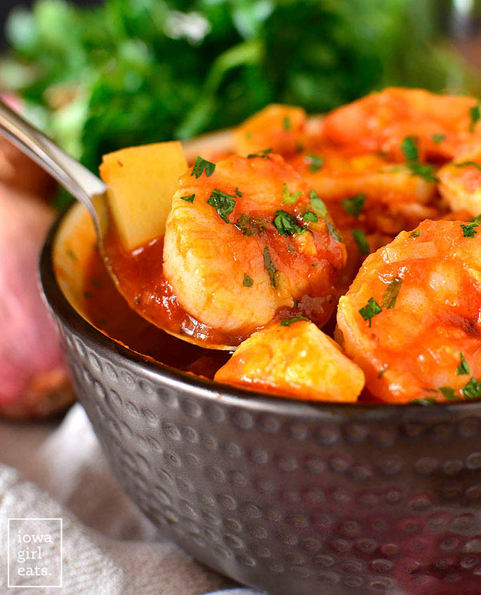 spoonful of seafood stew
