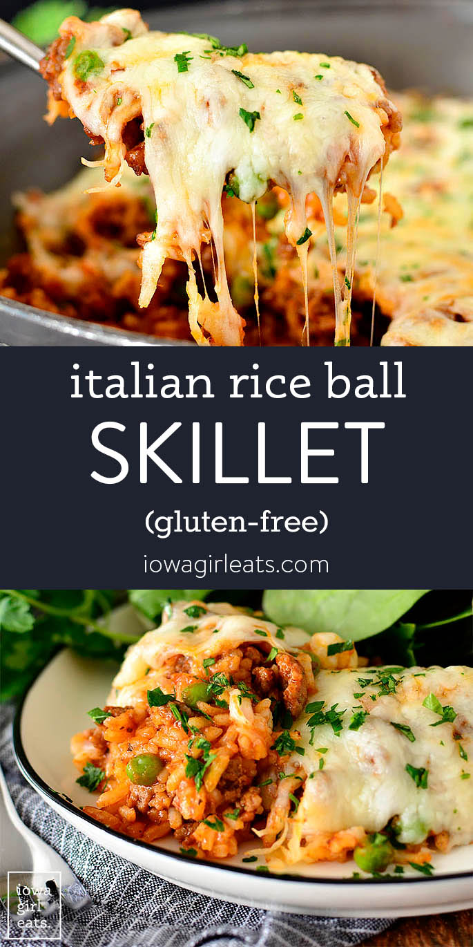 Photo collage of italian rice ball skillet