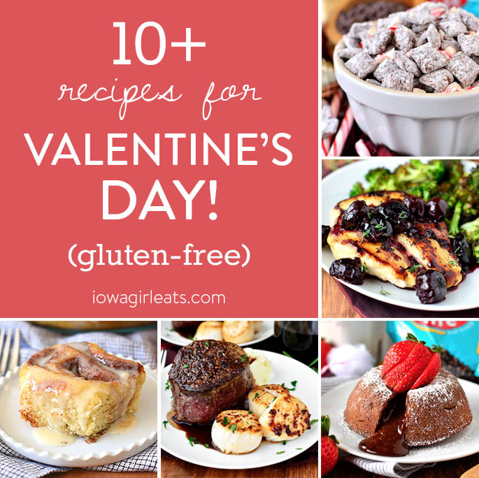 Photo collage of recipes for Valentine's Day.