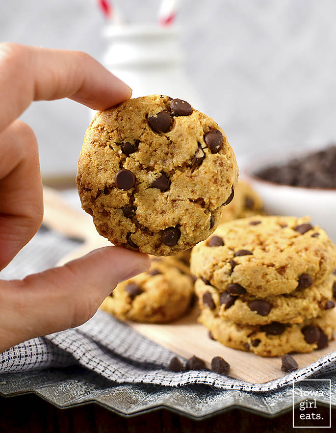 Close up photo of Almond Flour Chocolate Chip Cookies
