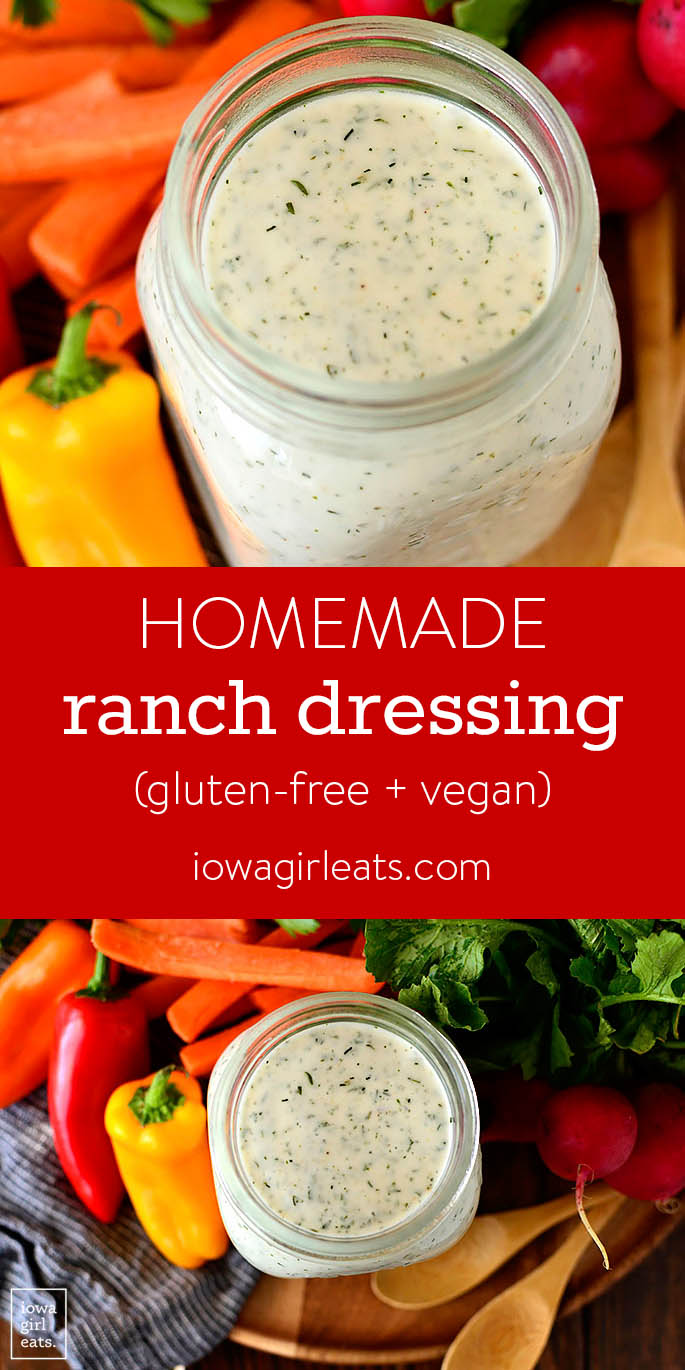 Photo collage of Homemade Ranch Dressing that's gluten-free and vegan too.