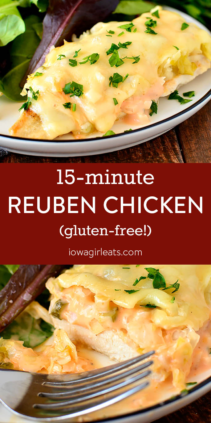 Photo collage of 15-Minute Reuben Chicken