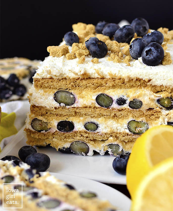 Photo of gluten free Lemon-Blueberry Icebox Cake sliced in half