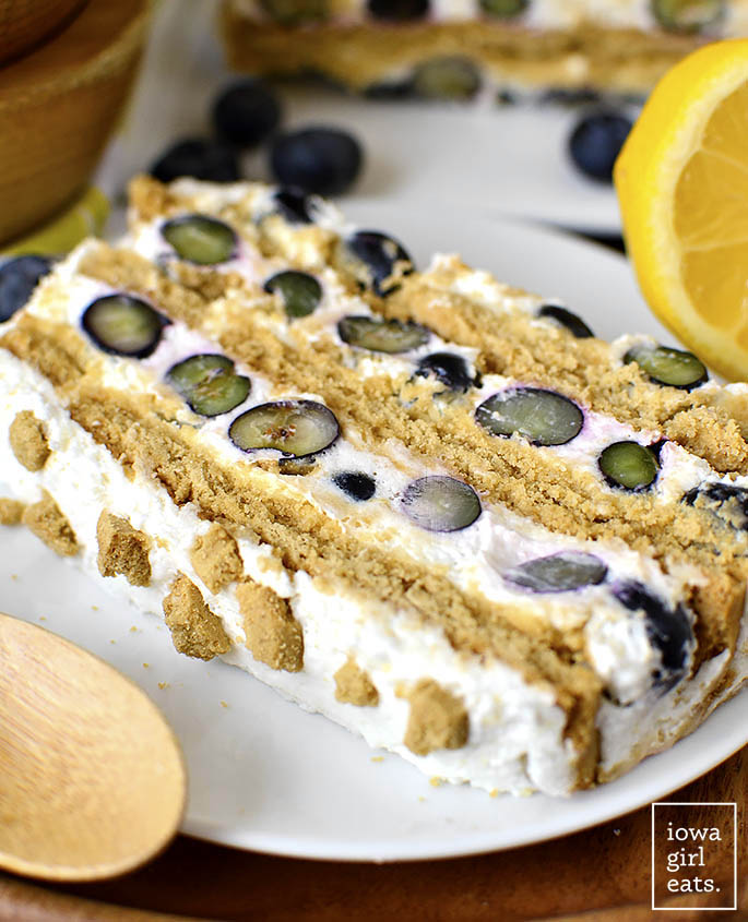 Close up photo of gluten free Lemon-Blueberry Icebox Cake
