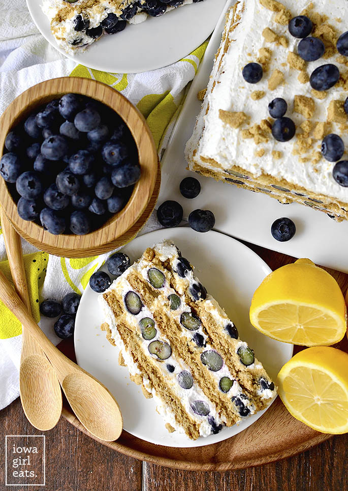 Overhead photo of photo of gluten free Lemon-Blueberry Icebox Cake