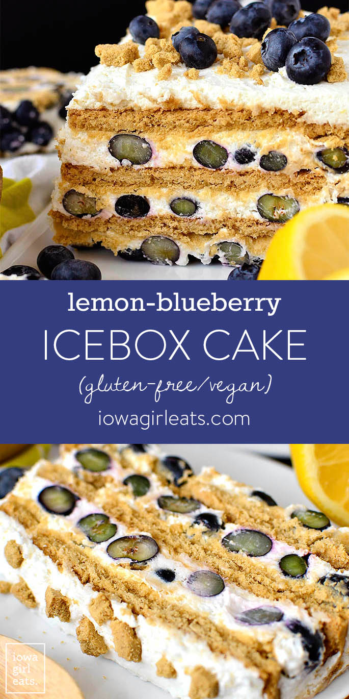 Photo collage of gluten free Lemon-Blueberry Icebox Cake