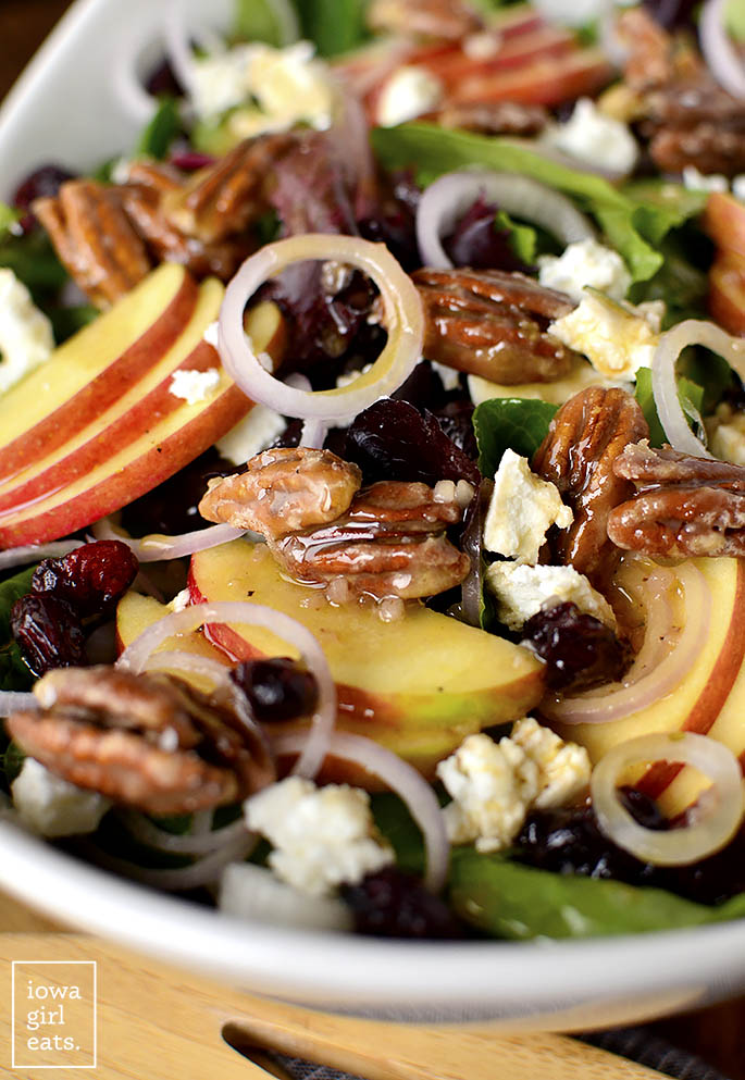 Dressing on Maple-Bourbon Pecan Salad