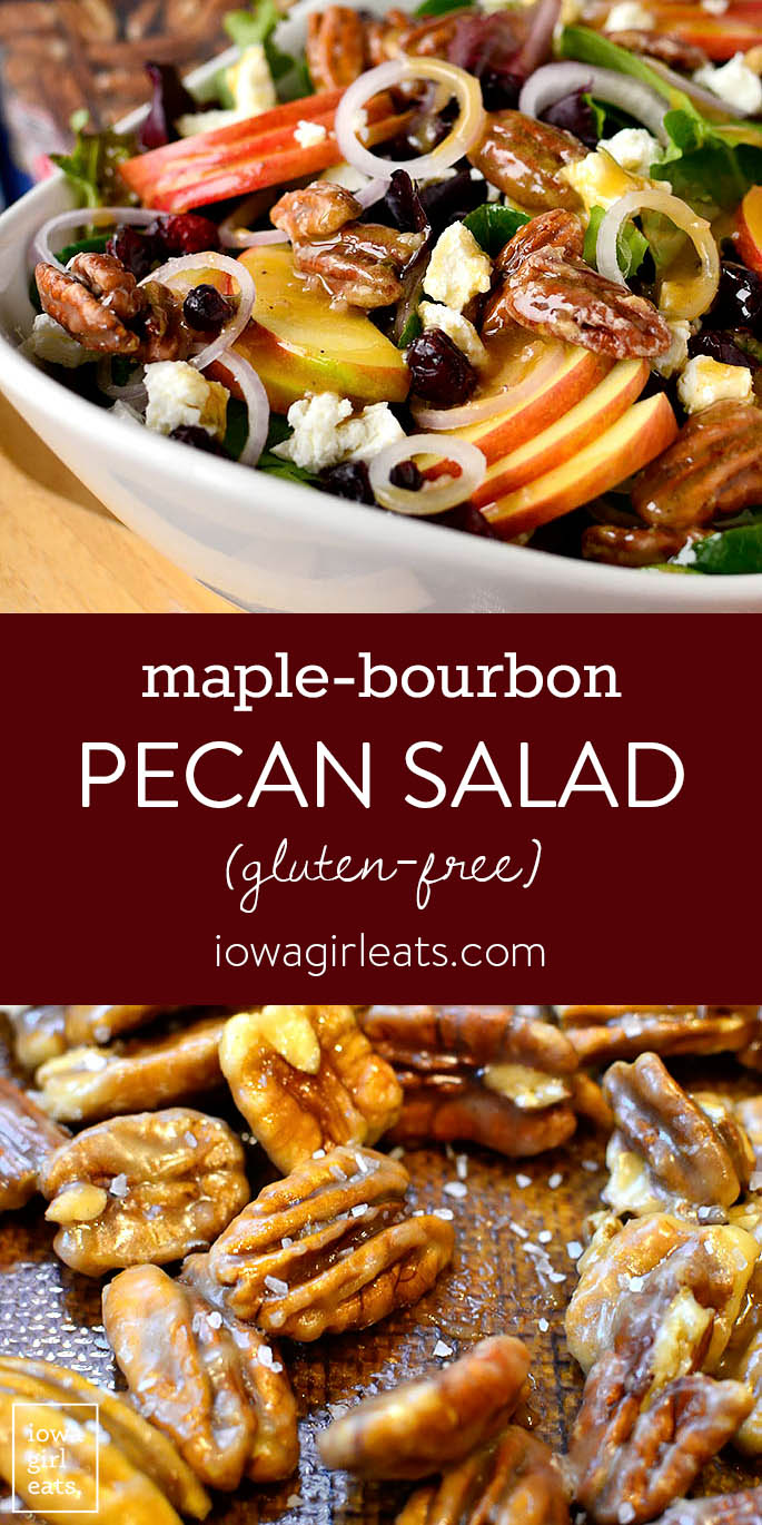 Photo collage of Maple-Bourbon Pecan Salad
