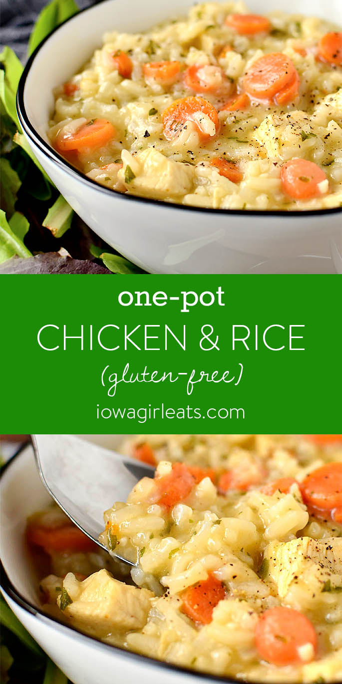 Photo collage of One-Pot Chicken and Rice | iowagirleats.com