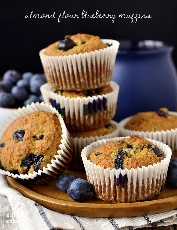 Plate of Almond Flour Blueberry Muffins | iowagirleats.com