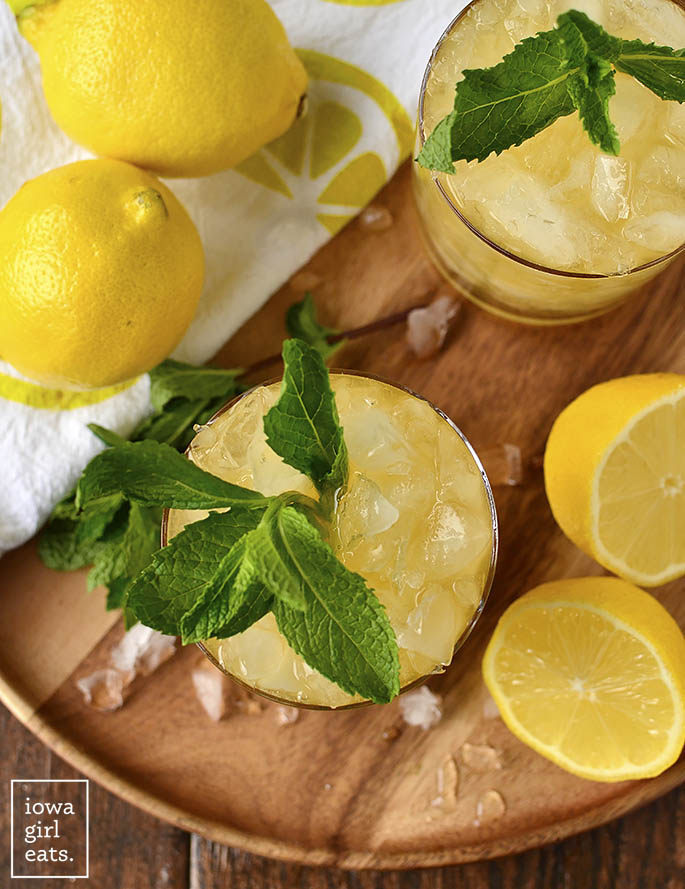 Overhead photo of Lemon-Ginger Mint Juleps | iowagirleats.com